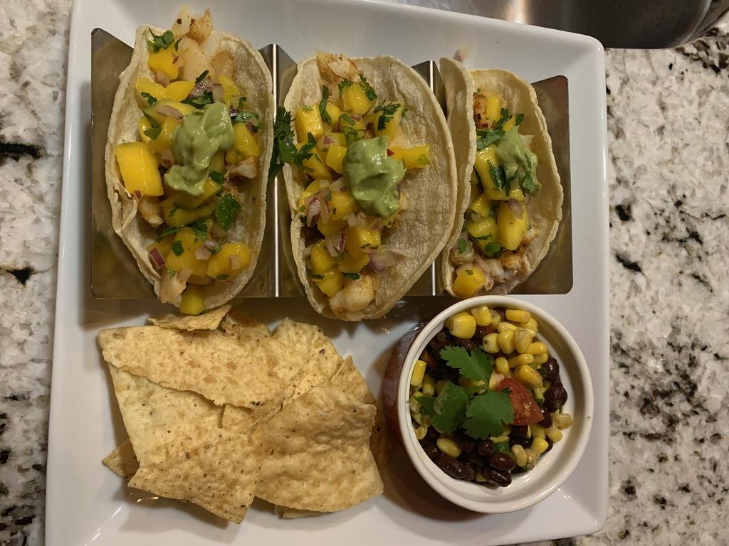 Fish Tacos with Mango Salsa and Black Bean and Corm Salad